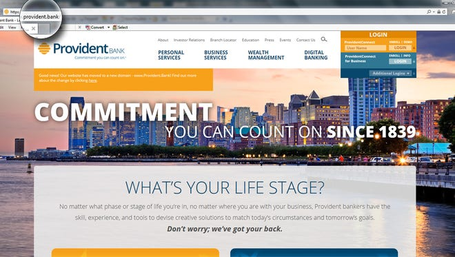 Provident Bank has launch a .Bank website. Pictured is the site's lending page.