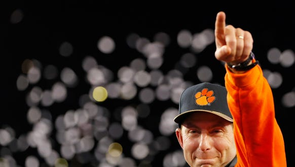 TAMPA, FL - JANUARY 09:  Head coach Dabo Swinney of
