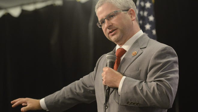 U.S. Rep. Patrick McHenry speaks at a town hall meeting in Swannanoa in 2013.