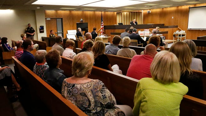 Friends and family of Berit Beck listen to Judge Gary Sharpe speak about a jury question during the second day of jury deliberation Tuesday in the Dennis Brantner murder trial in Fond du Lac County Circuit Court.  Brantner is being tried for the death of Berit Beck whose remains were discovered in a ditch north of Waupun in 1990.
