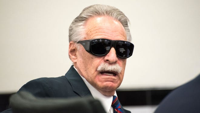 Howard Rosenberg appeared in court to plead no contest to charges of trespassing and acting without authority. He wore sunglasses because he recently received cataract surgery, he said.