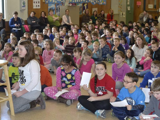 Students at Glenwood Elementary School in Vestal held a Skype session with NASA astronauts Doug Hurley and Karen Nyberg.