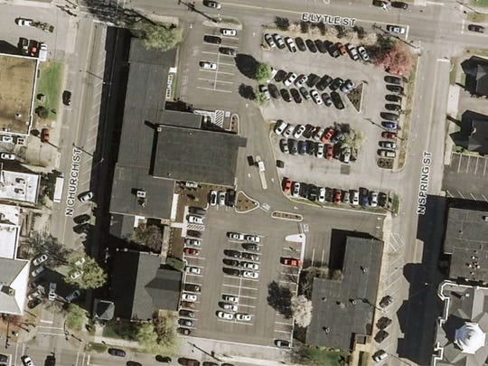 This aerial photo shows the 1.87 acre Franklin Synergy Bank grounds that the Murfreesboro City Council recently purchased.
