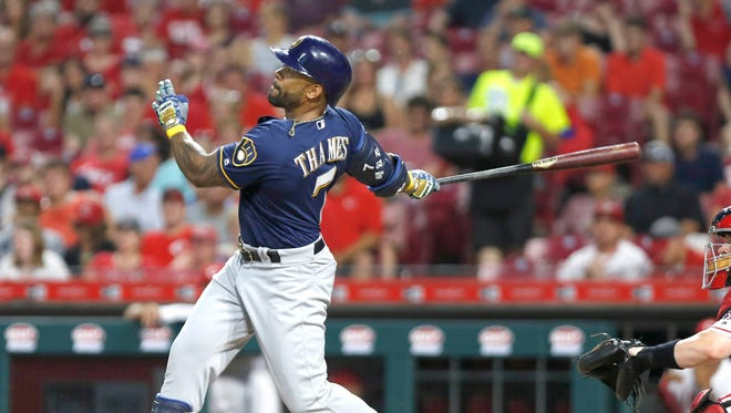 Eric Thames gives the Brewers the lead for good against the Reds in the seventh inning with a three-run bomb to right-center field.