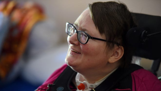 Kathy Steever talks about her recovery and adjusting to life after being paralyzed at Good Samaritan Society Sioux Falls Village on May 26, 2017. Steever was shot in 2015 at the Sioux Steel facility in Lennox by a coworker.
