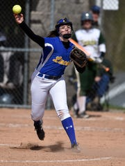 Lincoln's Laynie Russell throws to first against Northeastern Saturday, April 22, 2017, during the Wayne County Softball tournament championship in Dublin.