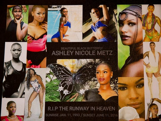 A photo collage shows model Ashley Nicole Metz in her