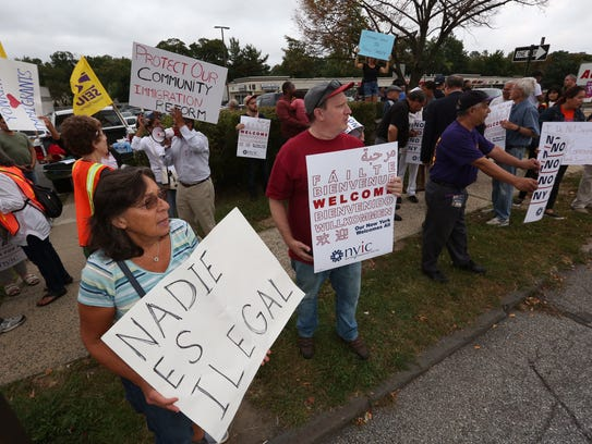 Demonstrators took to the streets in Yonkers Monday