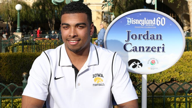 Iowa running back Jordan Canzeri was one of five Hawkeyes brought to the media portion of the team's Disneyland experience Saturday in Anaheim, Calif.