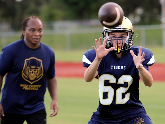 High School Football: Holy Trinity Football Practice