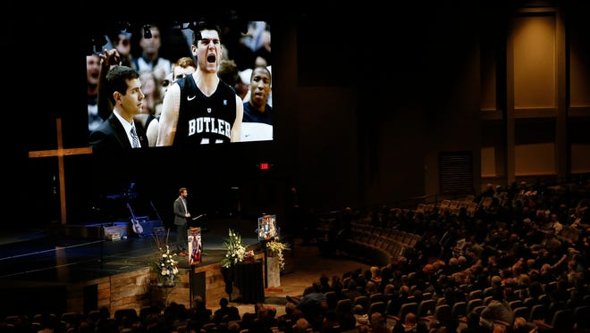 Aaron Brockett, lead pastor at Traders Point Christian Church, talks about Andrew Smith during a memorial held in Whitestown, Ind., on Jan. 17, 2016. Smith, a former Butler center who played in two Final Fours, died Jan. 12 at age 25 after a two-year battle with cancer.