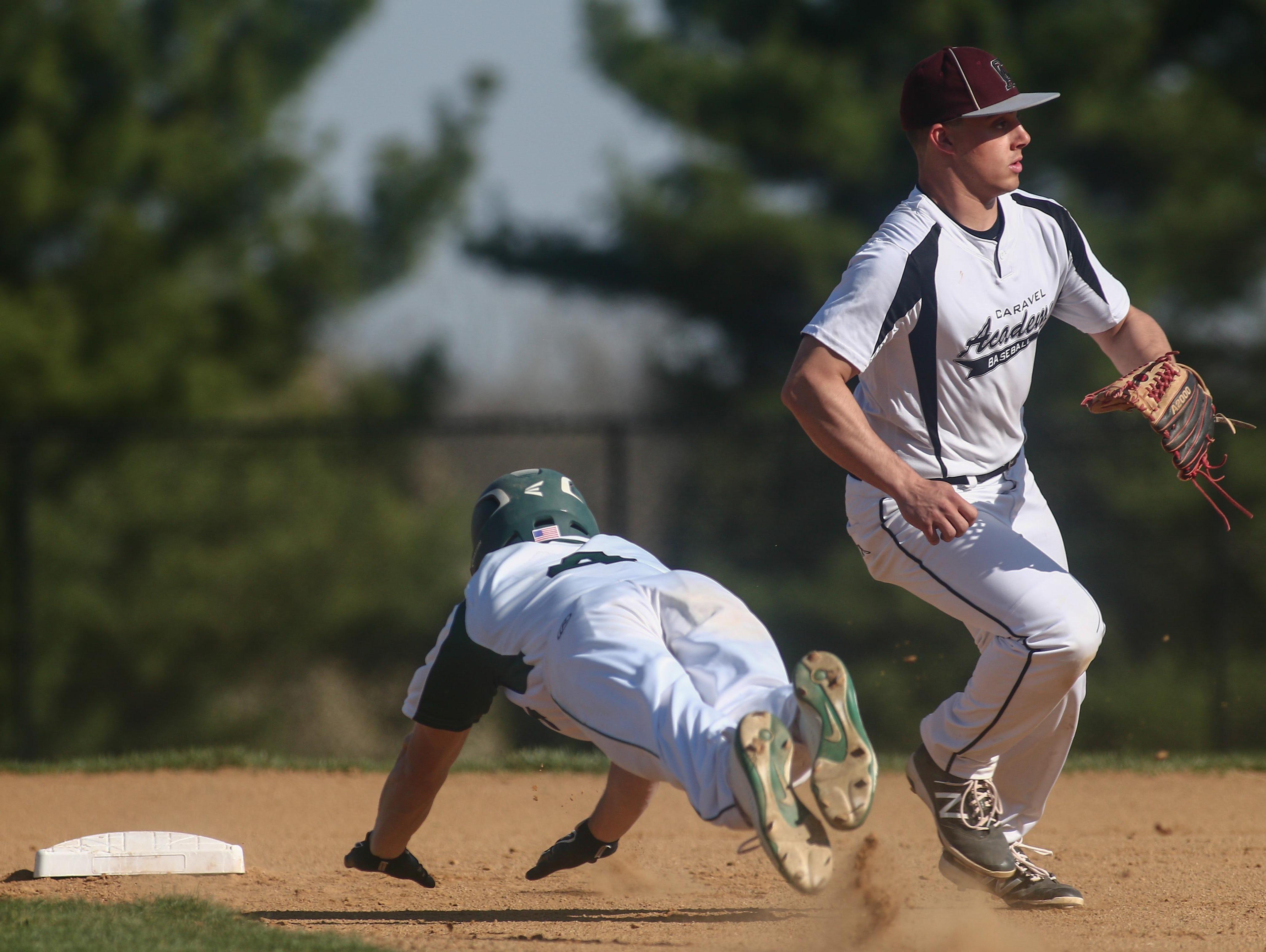 St. Mark's Jeremy Vogel (4) slides into second base during the third inning Thursday.