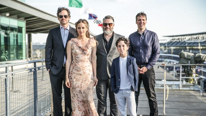 "Diary of a WimpyKid: The Long Haul"", cast, Tom Everett Scott, Actress Alicia Silverstone, film director David Bowers , Jason Drucker, and ""Wimpy Kid"" author Jeff Kinney, visit the Indianapolis Motor Speedway for a red carpet premiere of the film, May 12, 2017."