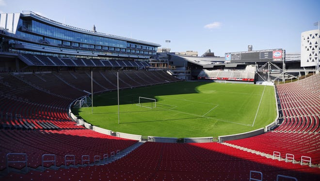 Nippert Stadium outfitted for soccer on Friday.