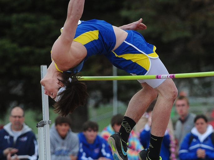 Ethan/Parkston's Cmaden Myers competes in the high jump at the 89th annual Dakota Relays on Saturday, May 3, 2014 at Howard Wood Field.
