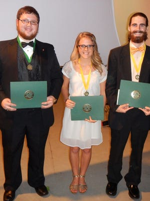 From left: Ryan Murphy, Joanna Johnson and Ryan Etheredge were among 16 Pensacola State College Performing Arts students named to Florida's All-Academic Team.