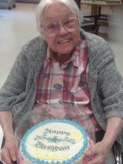 Mable Overholts celebrates her 99th birthday in July 2014.