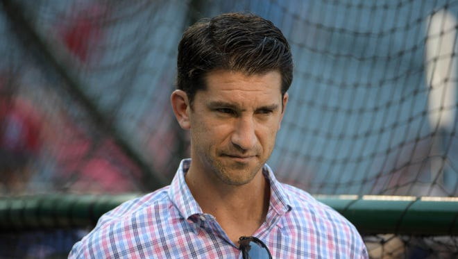Boston Red Sox general manager Mike Hazen during a MLB game against the Los Angeles Angels at Angel Stadium of Anaheim.