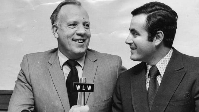Reds radio voice Joe Nuxhall, left, in 1971.