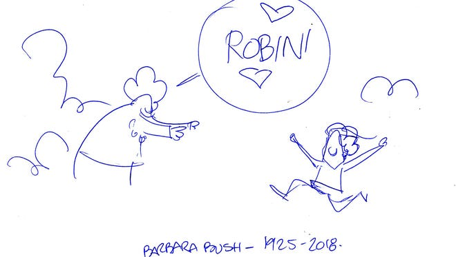 The original sketch for the Barbara Bush cartoon, drawn by Marshall Ramsey.