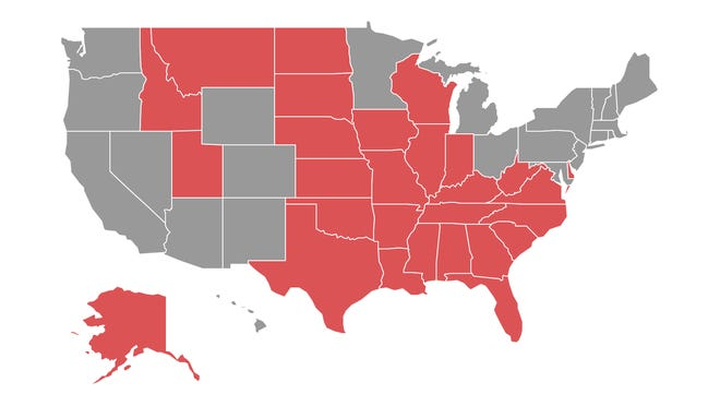 The states in red are still on New Jersey's quarantine list as of Sept. 15.