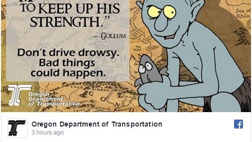The Oregon Department of Transportation celebrated Tolkien Reading Day with a series of travelling-inspired posts.