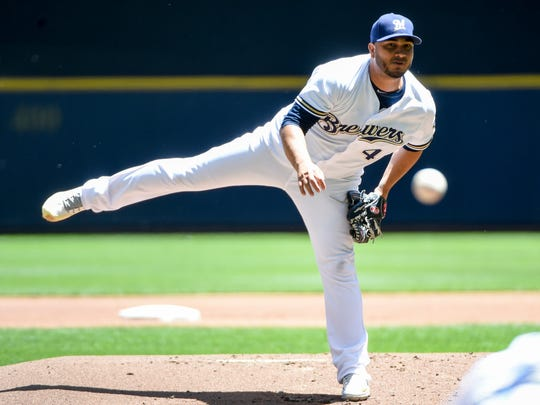 Milwaukee Brewers pitcher Jhoulys Chacin (45) throws a pitch in the first inning June 13 against the Chicago Cubs at Miller Park.