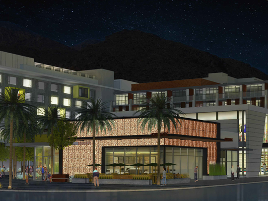 An architect's sketch of the new development planned for the corner of Tahquitz Canyon Way and Palm Canyon Drive in Palm Springs.