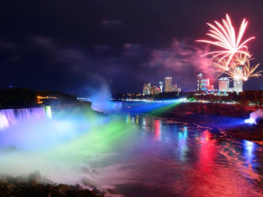 The Winter Festival of Lights at Niagara Falls includes fireworks, light displays and more.