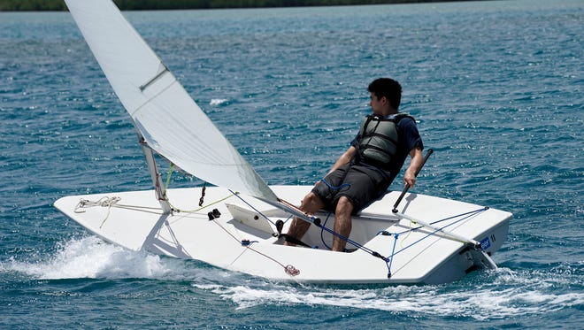 Justin Roland sails during the Marianas Yacht Club's five week-long sailing class.