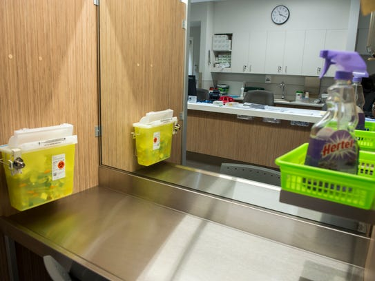 An injection booth is seen at the Cactus safe injection