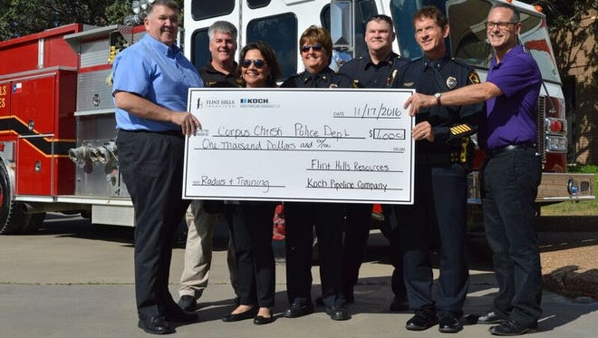 The Corpus Christi Police Department was awarded $1,000 by Flint Hills Resources and Koch Pipeline Company through the Helping Heroes program.