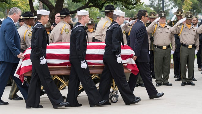 Services were held Friday, October 5, 2018 for correctional officer Armando Gallegos, Jr. at Visalia First Assembly. Gallegos, a 13-year veteran, and another officer were attacked by inmates April 21 at Kern Valley State Prison in Delano. He died September 14. Gallegos also retired from the US Navy in 2003 after serving 20 years.