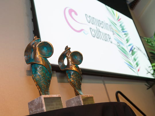 St. Augustine sculptor Enzo Torcoletti designed these bronze trophies for the 2017 Florida Artists Hall of Fame.