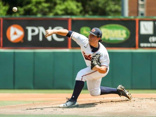 Auburn freshman pitcher Tanner Burns got the win after