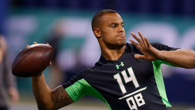 Former Mississippi State quarterback Dak Prescott worked out in front of NFL scouts on campus Thursday.