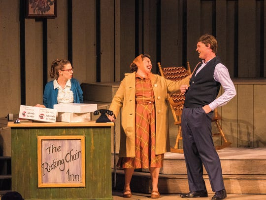 """Eva Nimmer (left), Rhonda Rae Busch and Alex Campea perform in the musical """"Oklahoma in Wisconsin."""""""