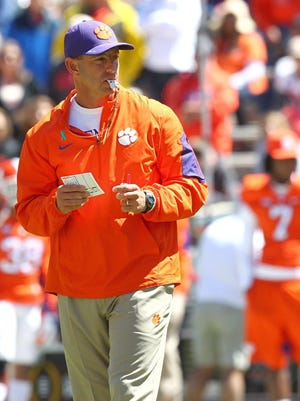 Clemson head coach Dabo Swinney during the 2016 spring game at Memorial Stadium in Clemson.