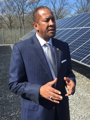 Louisiana Department of Environmental Quality Secretary Chuck Carr Brown tours the city of West Monroe's solar farm.