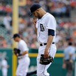 Detroit Tigers pitcher David Price heads to the dugout after giving up four runs to the San Francisco Giants in the first inning on Saturday.