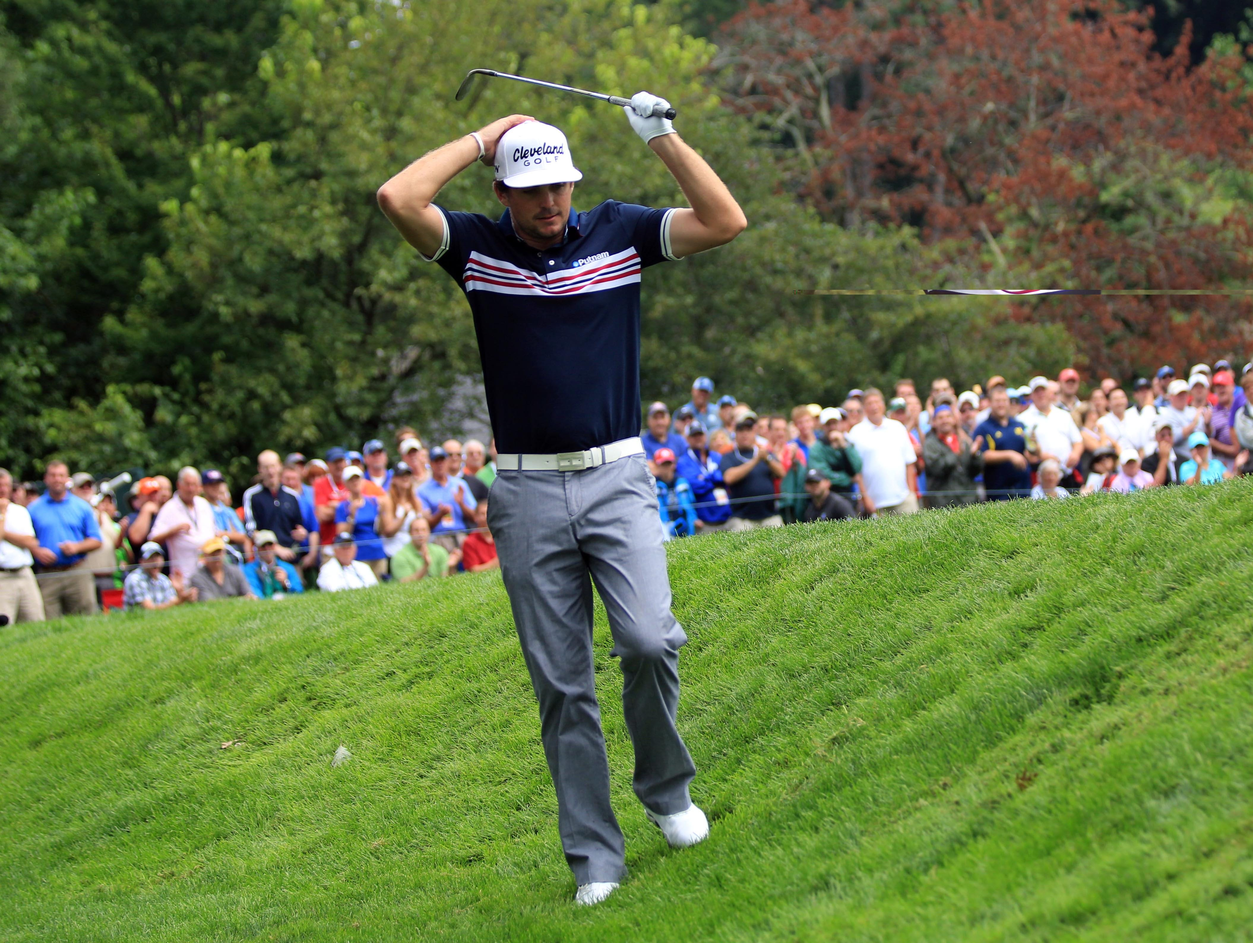 Keegan Bradley reacts to his chip from the rough on No. 3.