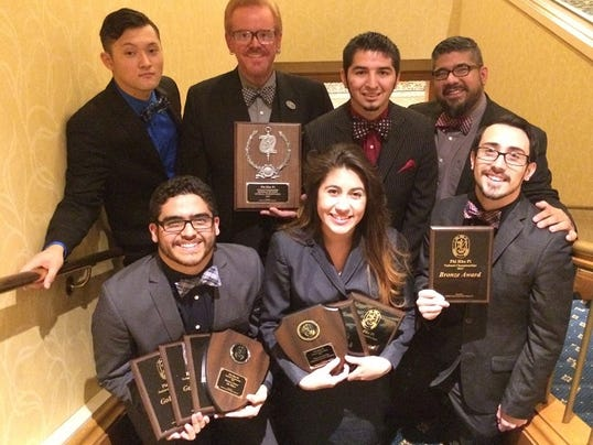 EPCC forensics team from left to right-front: Sean Diaz, Camille Acosta, Joaquin Castañeda. From left to right-back: Charles Kolodgy, Keith Townsend, Angelo Madrigal and Joel Anguiano.