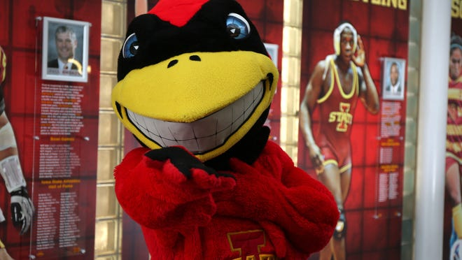 Cy, the mascot for Iowa State University, is ready for the NCAA basketball tournament selection.