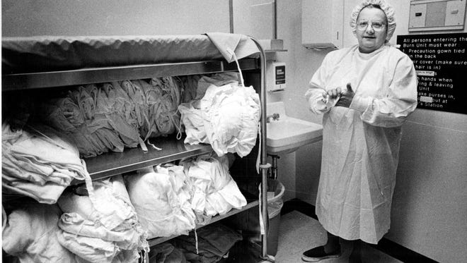 Florence Jacoby, burn clinical specialist and assistant at the UR School of Nursing, in a 1978 file photo.