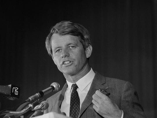 Sen. Robert F. Kennedy speaking at a convention in