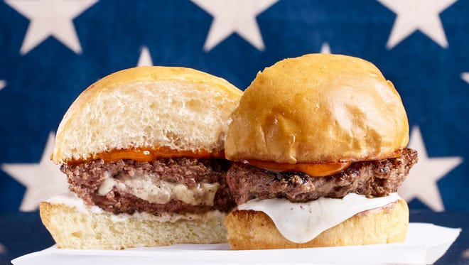Red, White & Blue burger from Hoss' Loaded Burgers food truck.