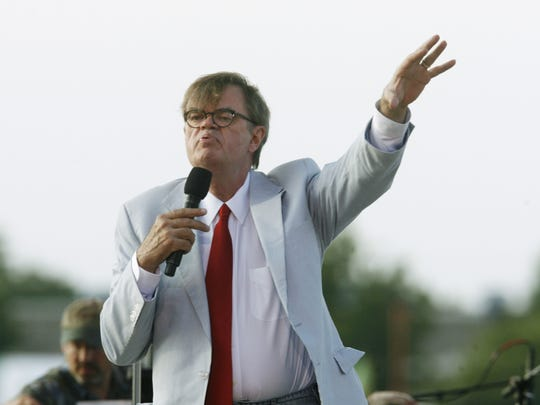 Garrison  Keillor is shown performing on the grandstand stage at the Indiana State Fair in 2008.