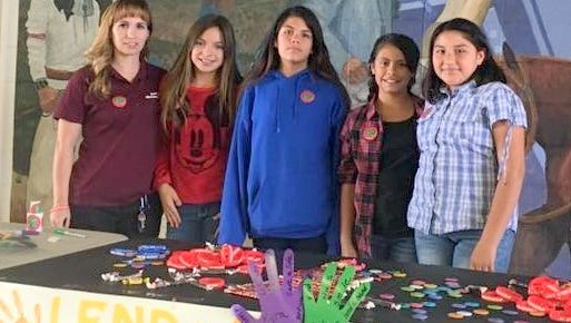 From left, are Linda Marquez, Kylee Chavez, Jasmine Laguna, Neveah Arroyos, and Richelle Munoz. They participated in a pledge table during lunch.