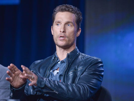 FILE - In this Jan. 9, 2014, file photo, Matthew McConaughey talks during the panel discussion for True Detective at the HBO portion of the 2014 Winter Television Critics Association tour at the Langham Hotel in Pasadena, Calif. Shows from broadcast, cable and the Internet are vying for honors in the 66th Emmy Awards nominations. Leading contenders include dramas ?True Detective? and ?Breaking Bad? and four-time best comedy winner ?Modern Family.? (Photo by Richard Shotwell Invision/AP, File)