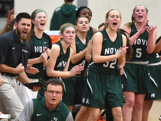 The Novi Wildcat bench erupts in cheers after they